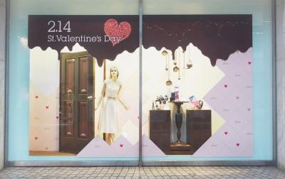 天満屋バレンタイン「ショコラ ショコラ ショコラ」 店舗装飾